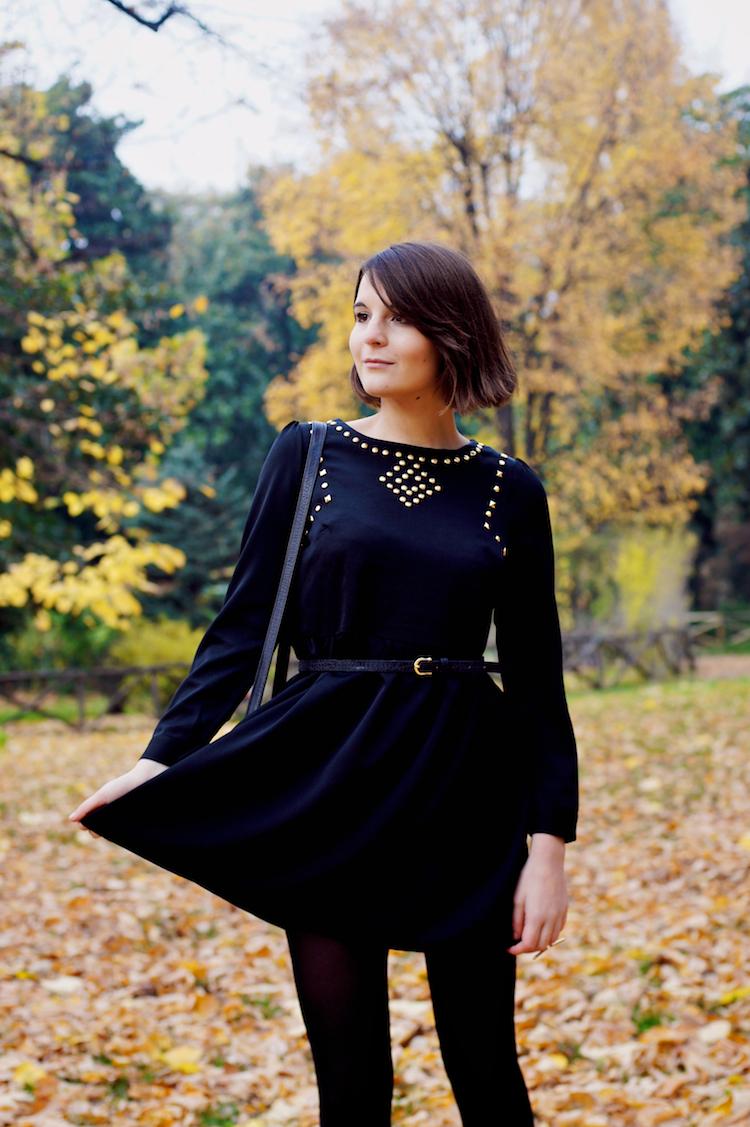 Irene Buffa black dress and gold studs