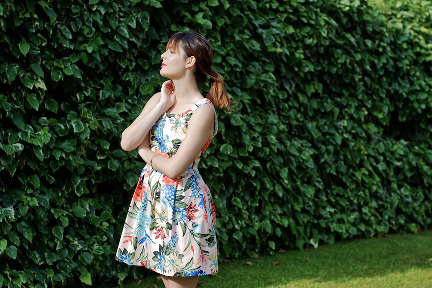 floral printed chic dress by rinascimento made in italy