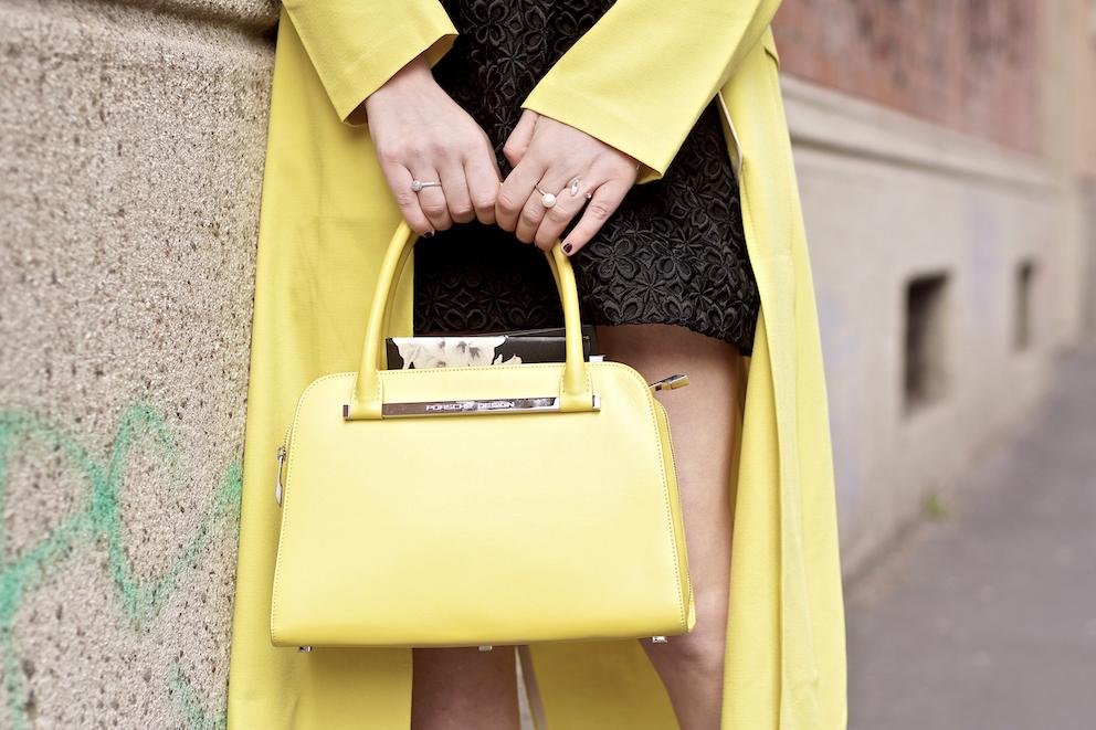 Yellow Outfit - Porsche Design bag , street style milano fashion week