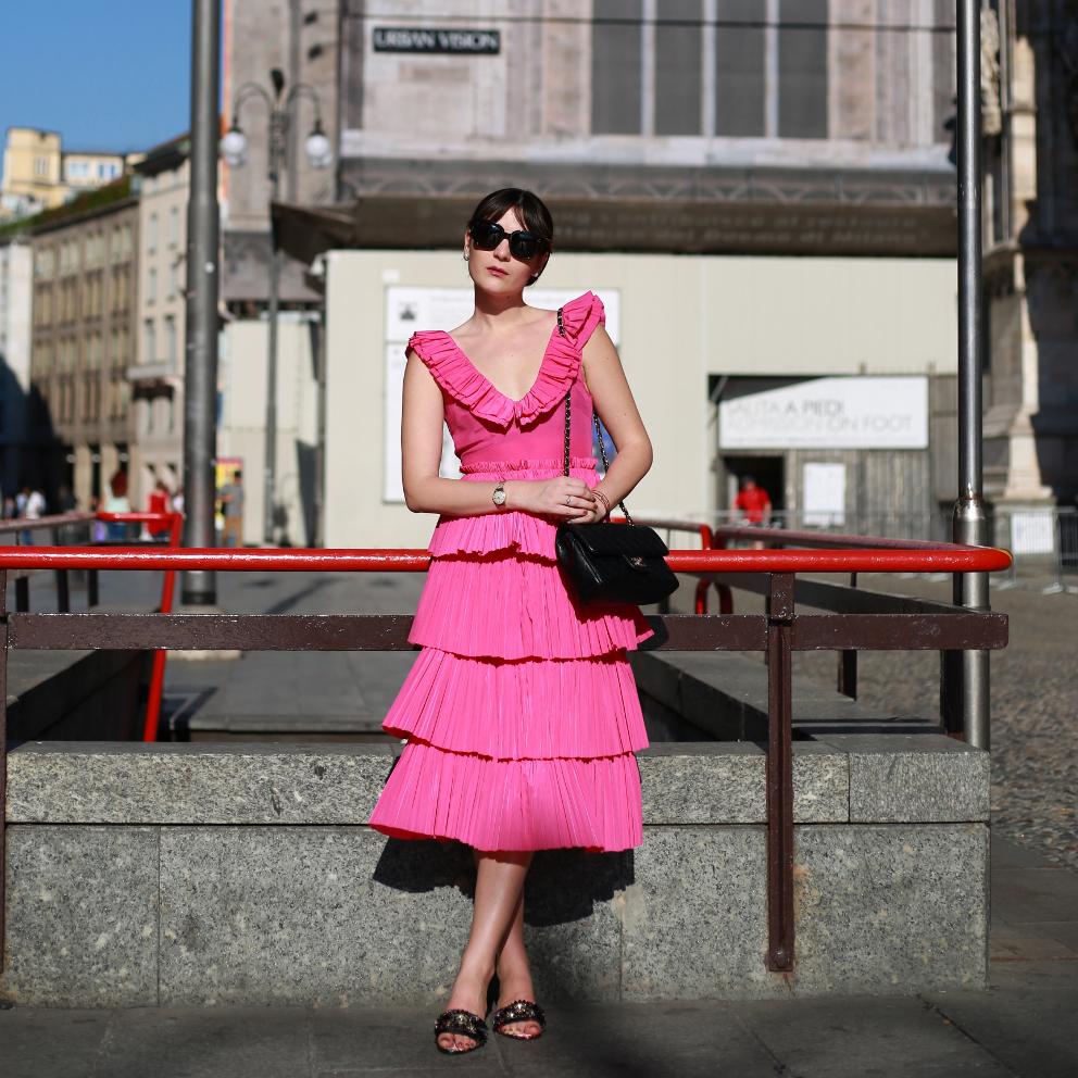 pink pleated dress irene buffa