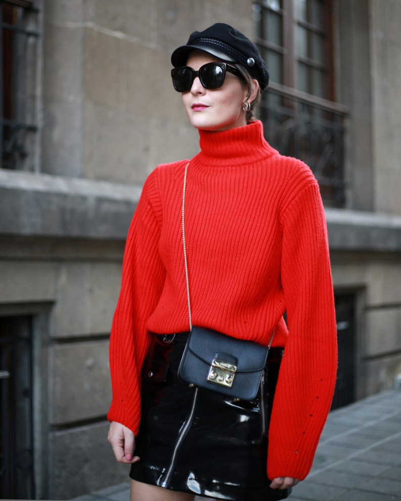 irene buffa red sweater look